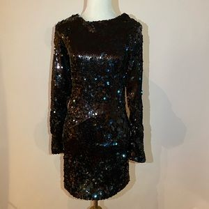 Zara blue sequined New Years dress S